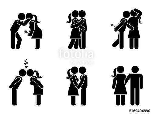 500x375 Stick Figure Kissing Couple Set. Man And Woman In Love Vector