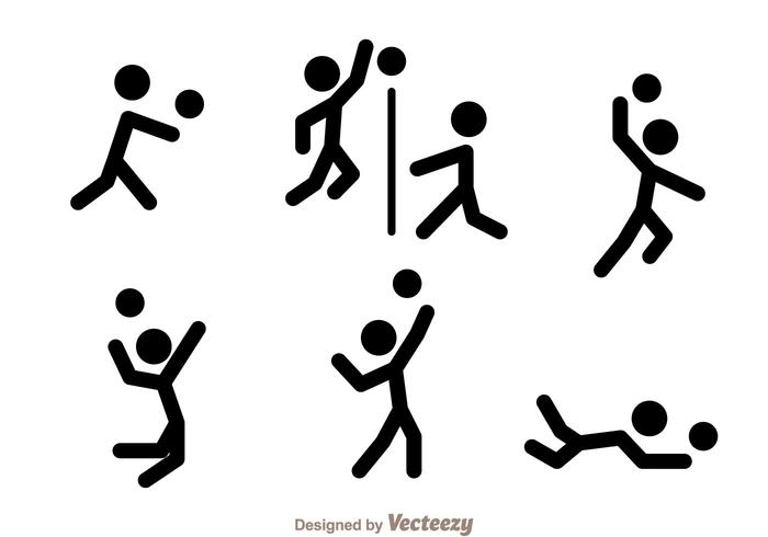 700x490 Volleyball Stick Figure Vector Icons