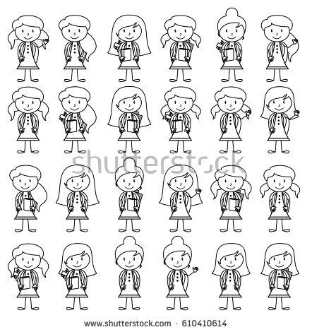 442x470 Collection Of Cute And Diverse Vector Format Stick Figure Female