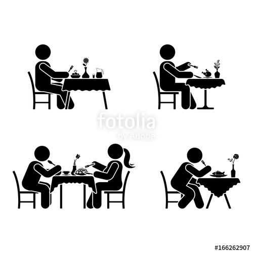 500x500 Eating And Drinking Pictogram. Stick Figure Vector Dining Couple