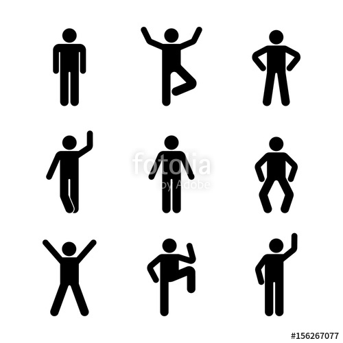 500x500 Man People Various Standing Position. Posture Stick Figure. Vector