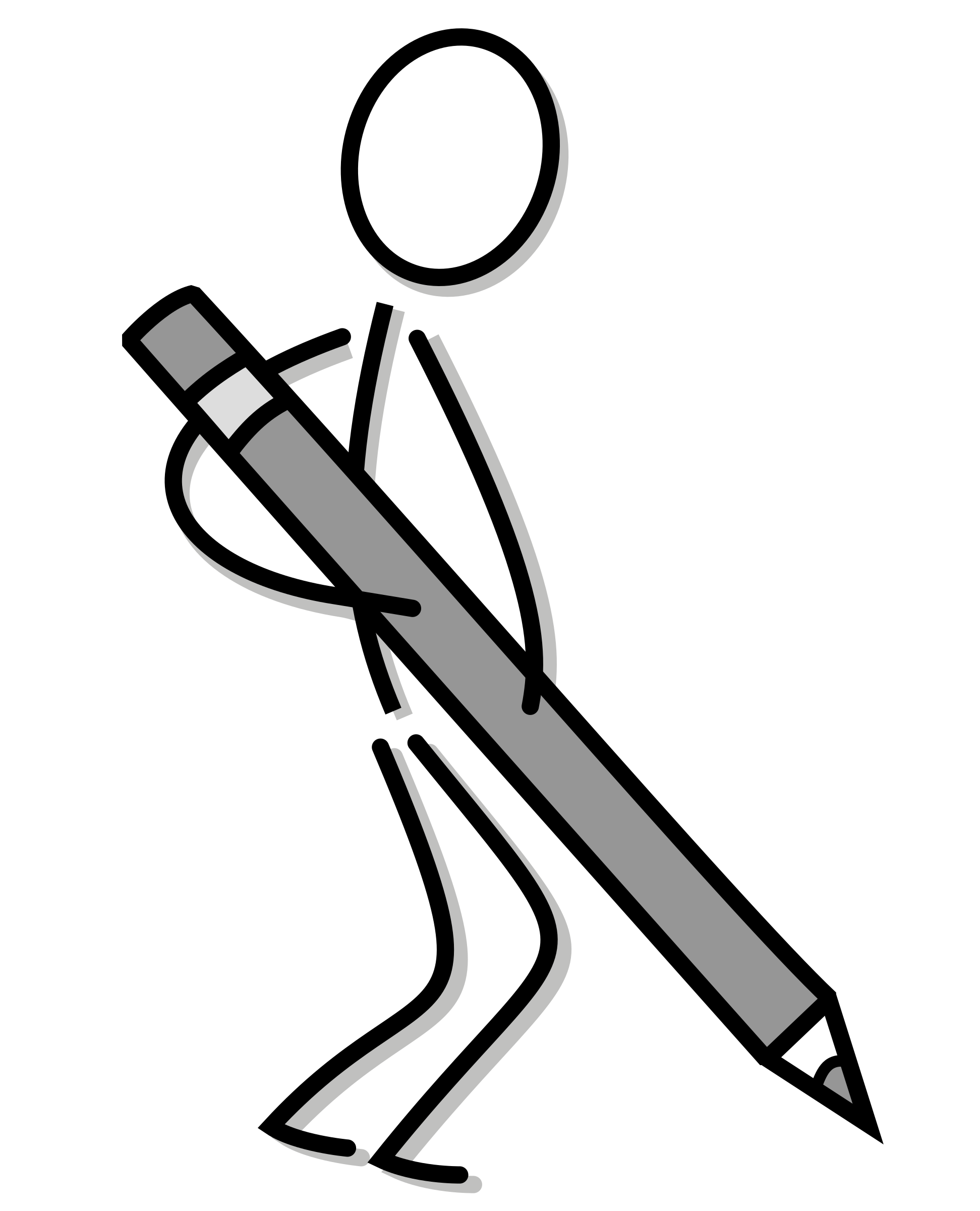 1943x2400 Stick Figure With Pencil Vector Clipart Image