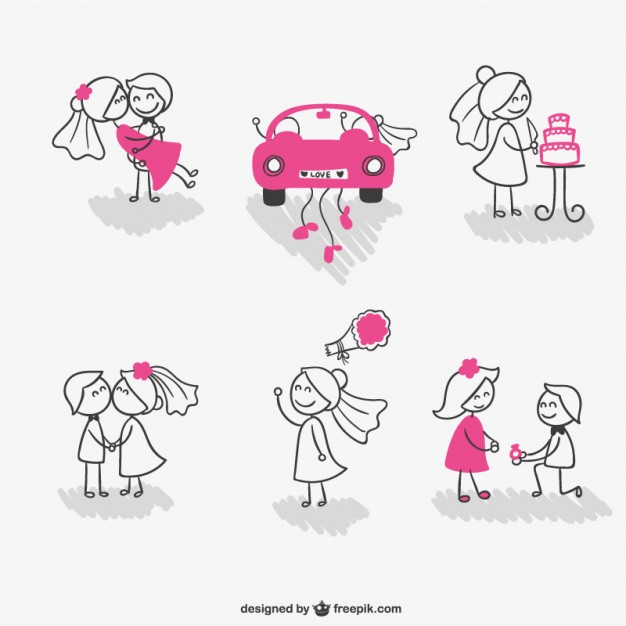 626x626 Wedding Stick Figure Couple Vector Free Download