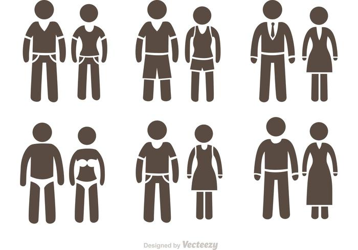 700x490 Couple Stick Figure Icons Vector Pack