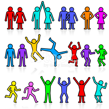 440x440 People And Party Stick Figure Vector Icon Set Stock Vector