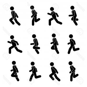 300x300 Photostock Vector Man People Various Running Position Posture