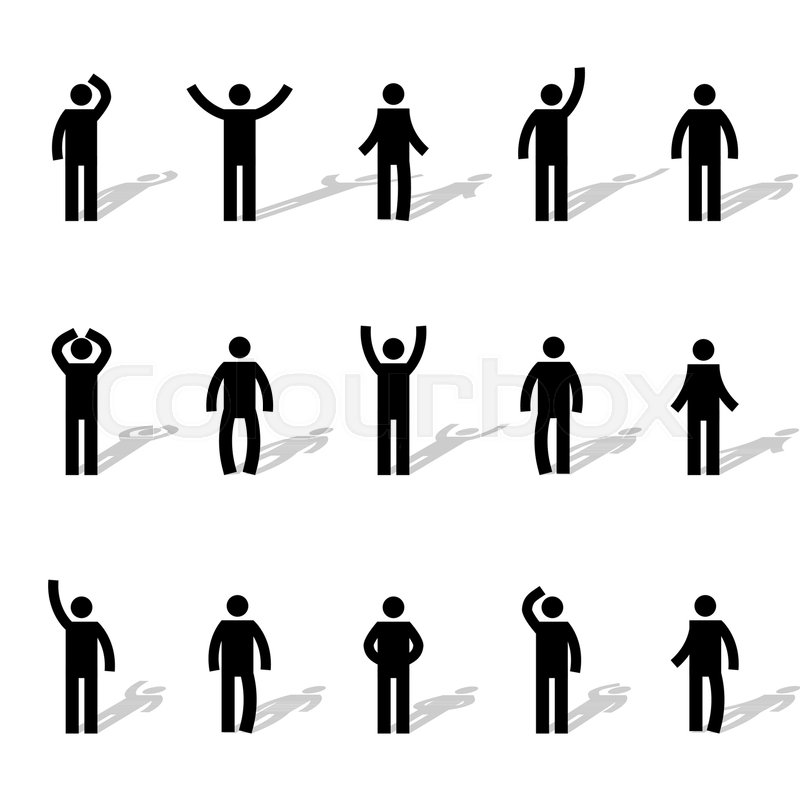 800x800 Set Of Stick Figures, Black Mens Silhouettes On A White Background