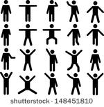 150x155 Stick Figure Vector Group With Items