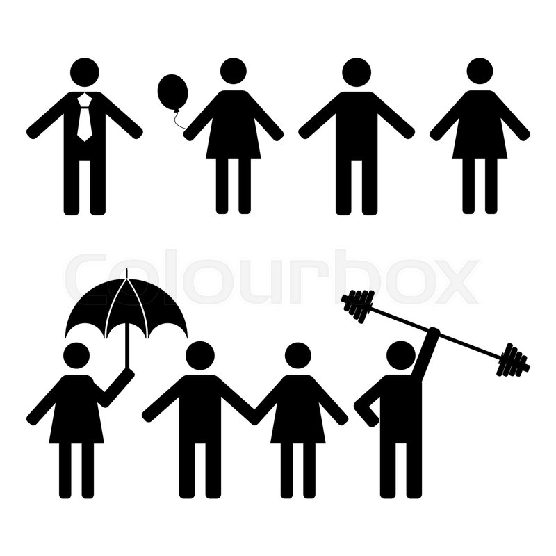 800x800 A Set Of Stick Figures, Black Womans And Mens Silhouettes On A