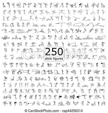 450x470 Cartoon Icons Set Of 250 Sketch Little People Stick Figure