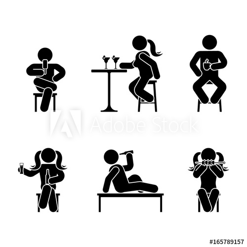500x500 Man People Various Sitting, Eating And Drinking Position. Posture