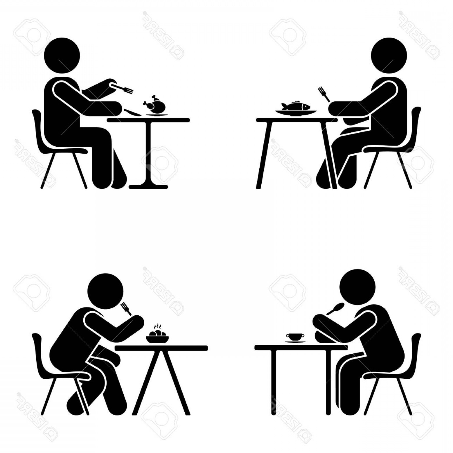 1560x1560 Photostock Vector Eating And Sitting Vector Pictogram Stick Figure