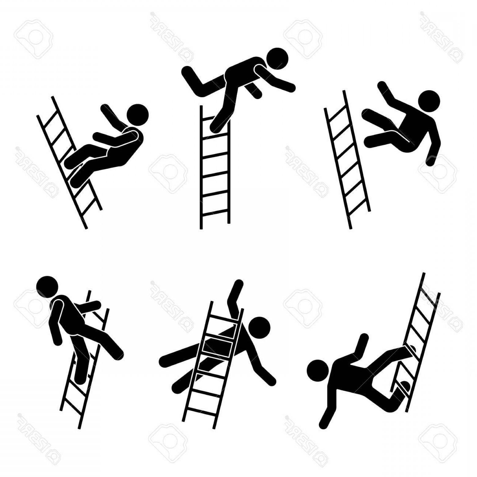 1560x1560 Photostock Vector Man Falling Off A Ladder Stick Figure Pictogram