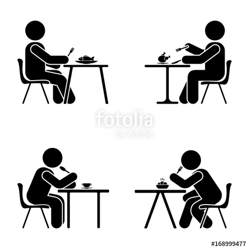 500x500 Eating And Sitting Vector Pictogram. Stick Figure Black And White