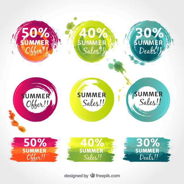 626x626 Promotional Coloured Stickers Vector Free Download