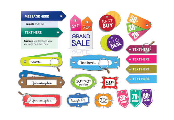 600x414 Various Stylish Colorful Label Stickers Vector Free Download