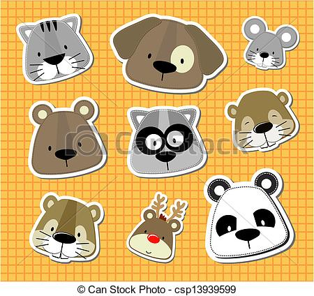 450x424 Baby Pet Vector Stickers. Set Of Cute Baby Animals Heads Looks