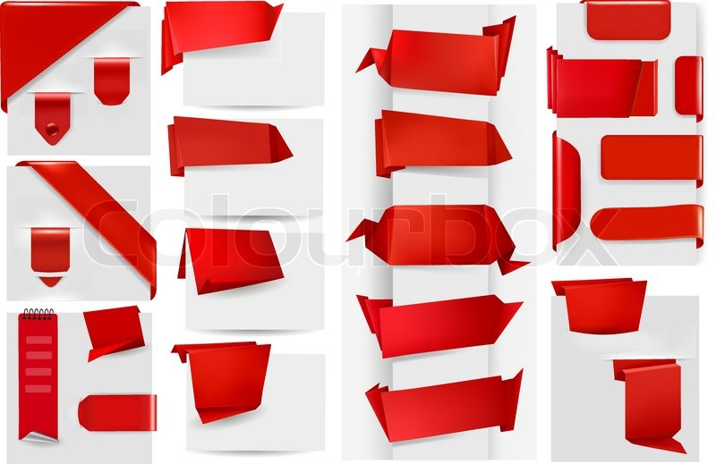 800x519 Big Collection Of Red Origami Paper Banners And Stickers. Vector