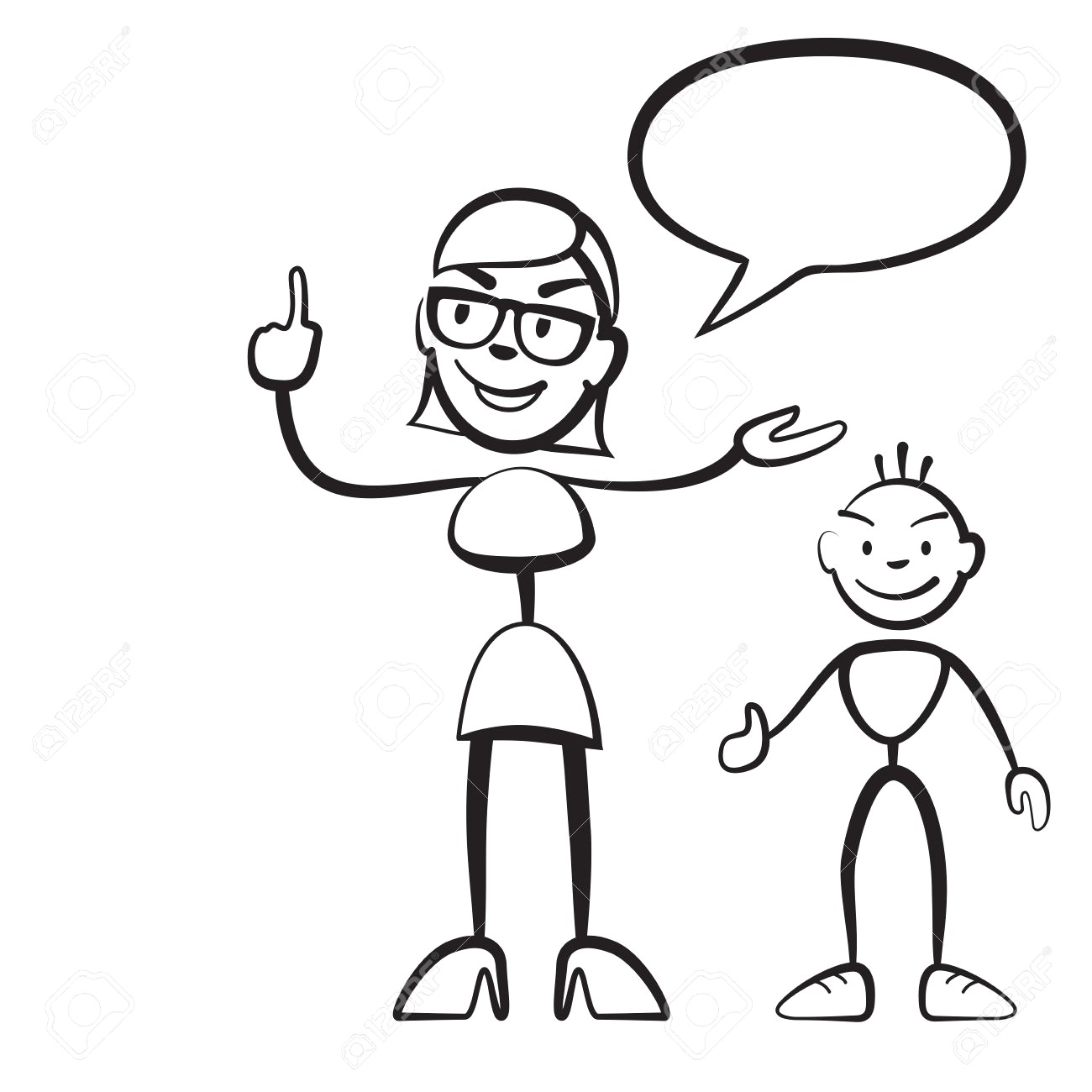 1300x1300 69006395 Stick Figure Persona Woman With Child And Speech Bubble