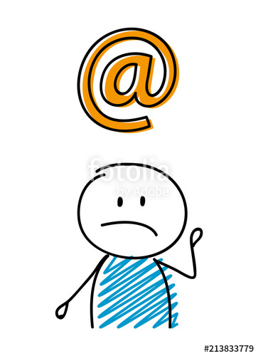 363x500 E Mail Adress Icon With Sad Stickman. Vector. Stock Image And