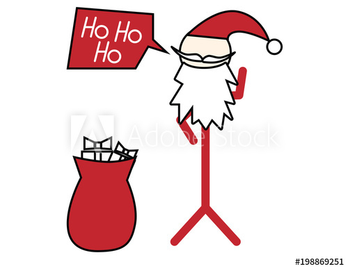 500x387 Santa Claus Stickman Vector Illustration