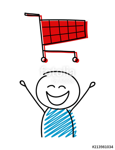 381x500 Shopping Cart Icon With Happy Stickman. Vector. Stock Image And
