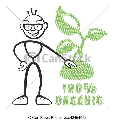 450x470 Stick Figure With Symbol 100% Organic, Stickman Vector Drawing On