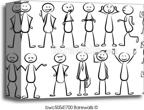 498x379 Canvas Print Of Stickman Vector Set Barewalls Posters Amp Prints