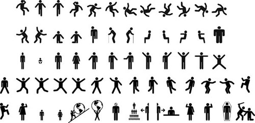 500x242 Various Stickman Action Vector Material