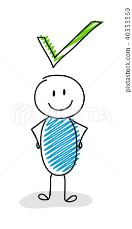260x450 Check Mark (Tick) With Funny Stickman. Vector.