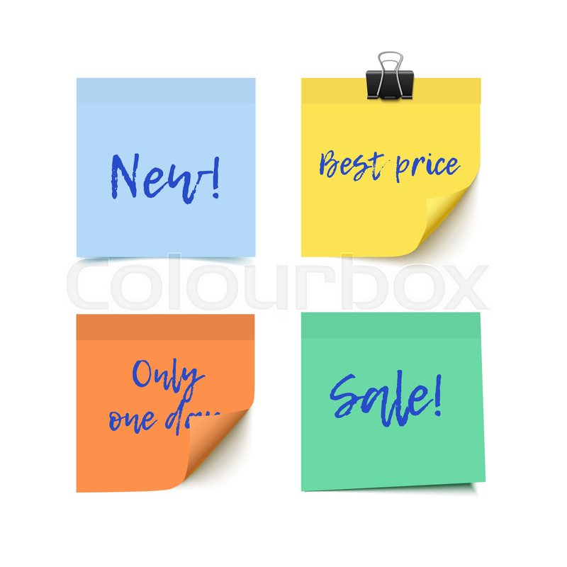 800x800 Sticky Notes Vector Paper. Color Post It Paper With Curl Corner