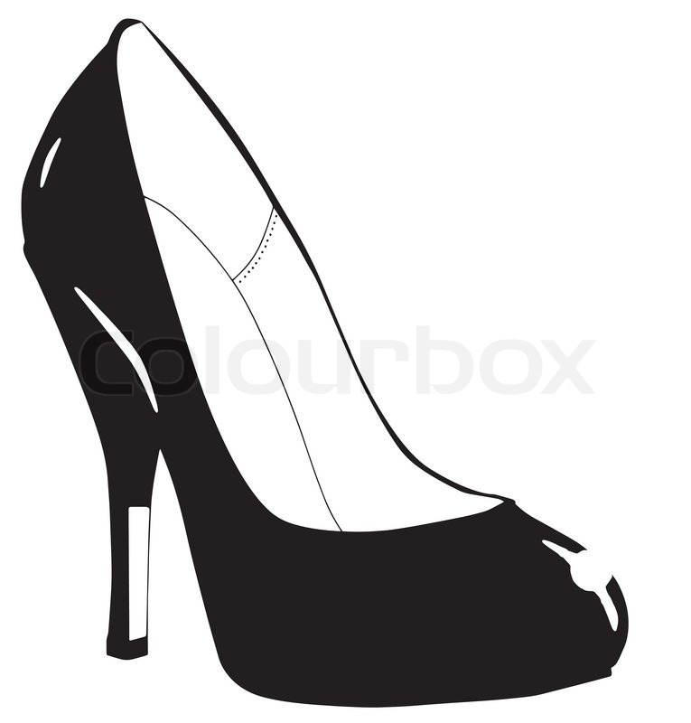 765x800 Sketch Of A Black Stiletto Heel Shoe Isolated On A White