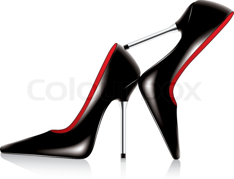 800x613 Vector Pair Of High Heel Shoes With Metal Stiletto Stock Vector
