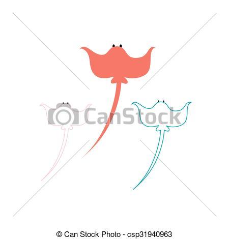 450x470 Illustration Colorful Stingray. Beautiful Illustration Of A