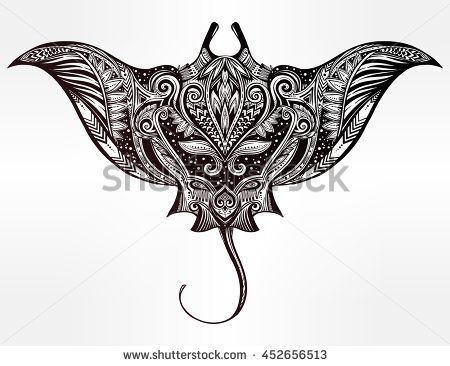 450x366 Ornate Stingray Fish In Tattoo Style. Isolated Vector Illustration