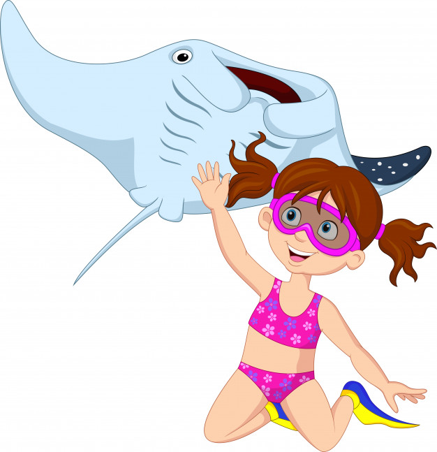 626x647 Cartoon Little Girl Diving With Stingray Vector Premium Download