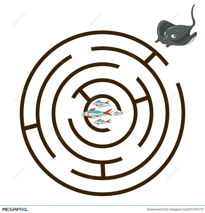 800x830 Game Labyrinth Find A Way Stingray Vector Illustration 61030170