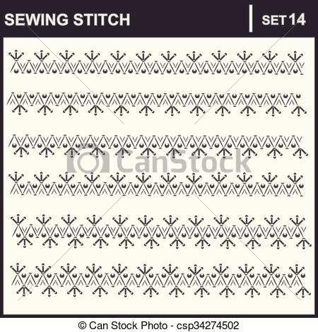 450x470 0216 19 Sewing Stitch. Collection Of Vector Illustration Sewing