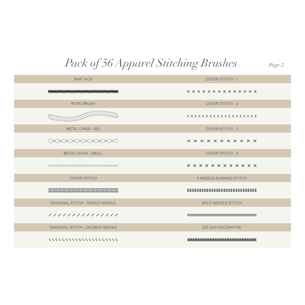 1000x1000 Pack Of 56 Apparel Stitching Vector Brushes