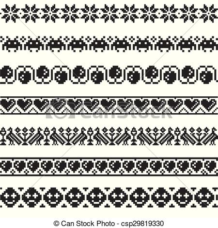 450x469 Set Patterns For Embroidery Stitch. Set Of Vector Patterns For