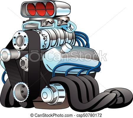 450x401 Hot Rod Race Car Engine Cartoon Vector Illustration. Very Cool
