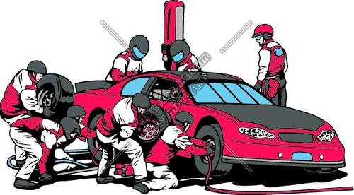 500x276 Race Car Pit Crew Working Clipart And Vectorart Vehicles