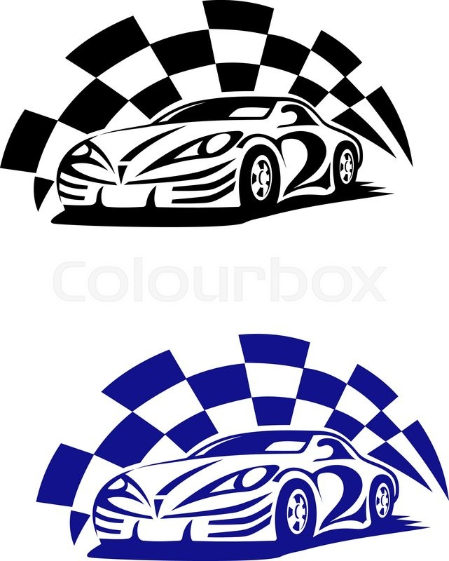641x800 Race Car With Racing Checkered Flag In Black And Blue Colour