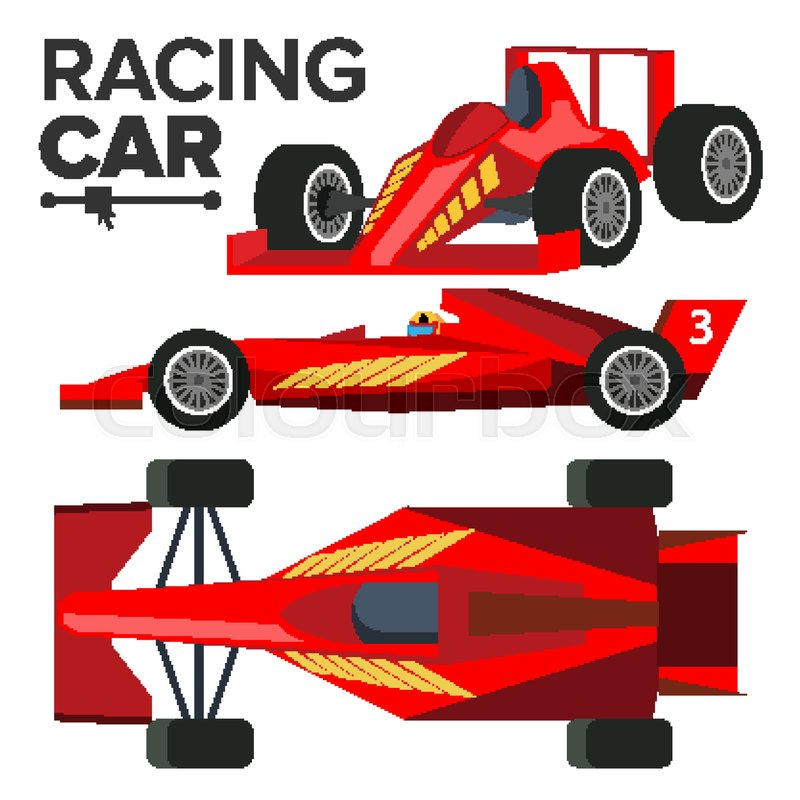 800x800 Racing Car Bolid Vector. Sport Red Racing Car. Front, Side, Back