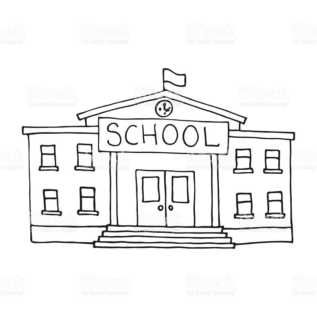 1024x1024 School Building Doodle Outlined Stock Vector Art More Images Of