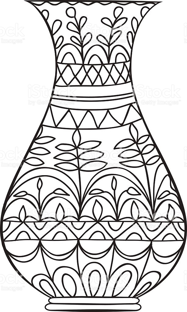 613x1024 Vase Of Flowers Clipart Black And White Luxury Coloring Book Vase