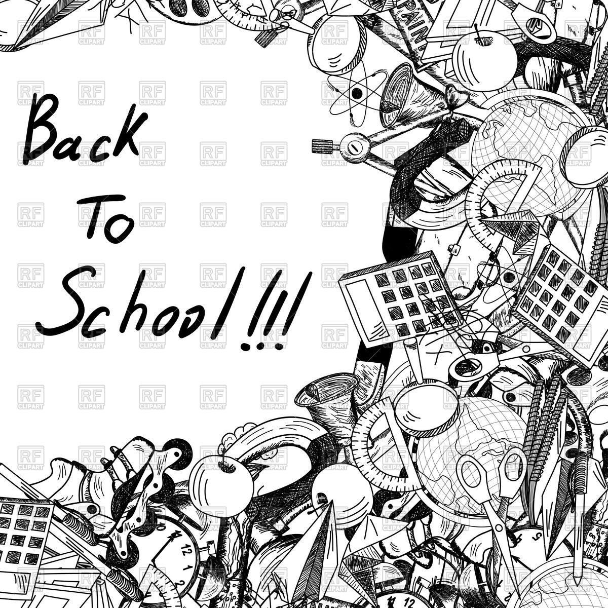 1200x1200 Back To School Title With Sketch Drawing Frame Vector Image