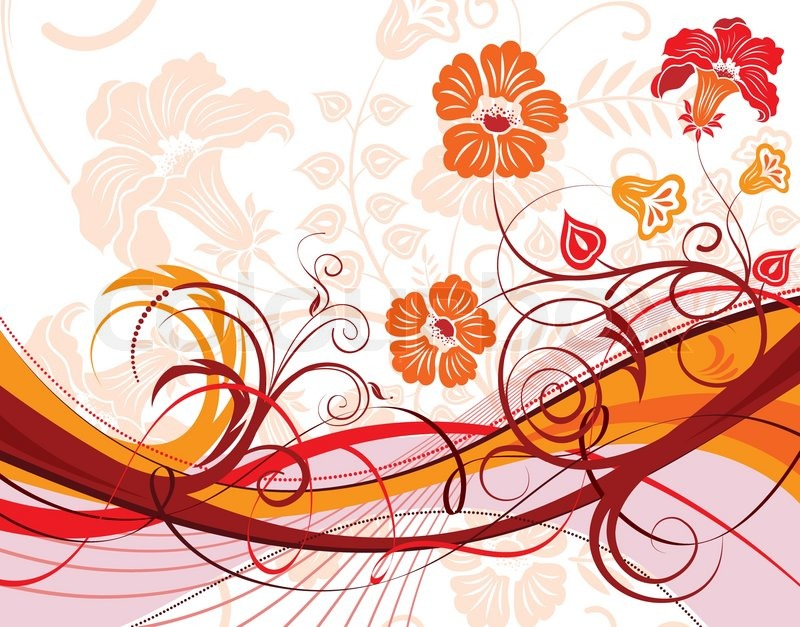 800x627 Flower Background With Wave Pattern, Element For Design, Vector