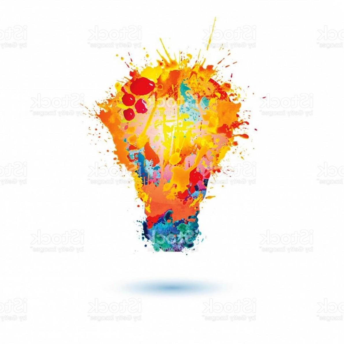 1191x1191 Light Bulb Paint Idea Light Lamp Icon Splash Paint Royalty Free