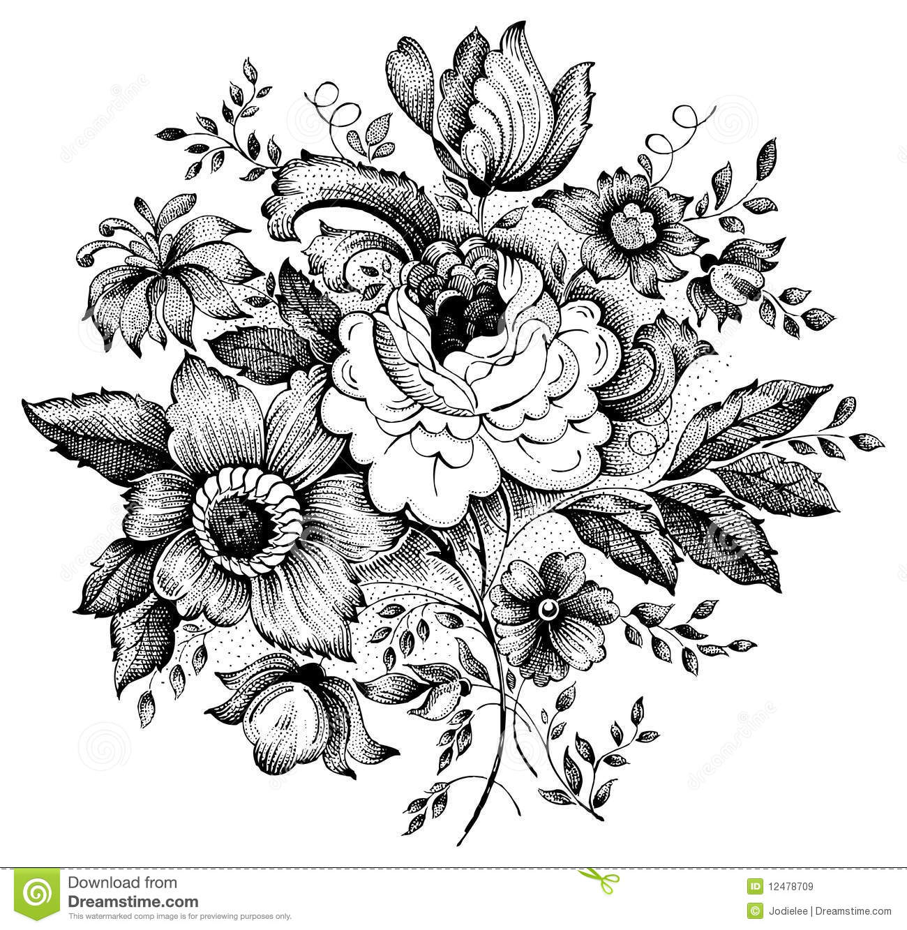 1300x1333 Collection Of Vector Drawings Of Flowers High Quality, Free